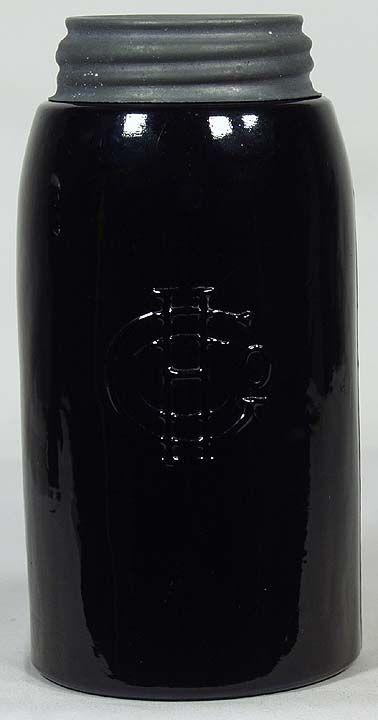 226. Rare BLACK GLASS Quart MASONS 1858 Rev: HGCo ...