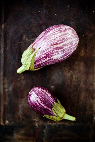 Zebra Eggplants for table decor in purple