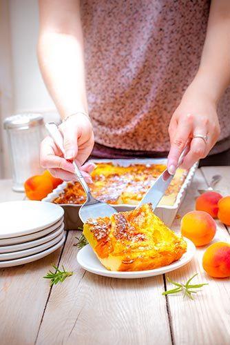 part de recette clafoutis aux abricots-recettes-preparées à l'avance avec Companion de Moulinex