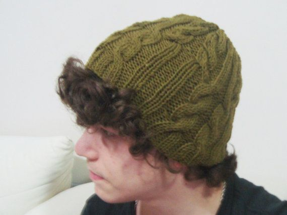 Hand Knit Hat Mens Hat Womens Hat Wool Hat in Moss by earflaphats, $39.99