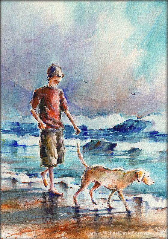 Migliori amici sulla spiaggia-stampa artistica dell'acquerello