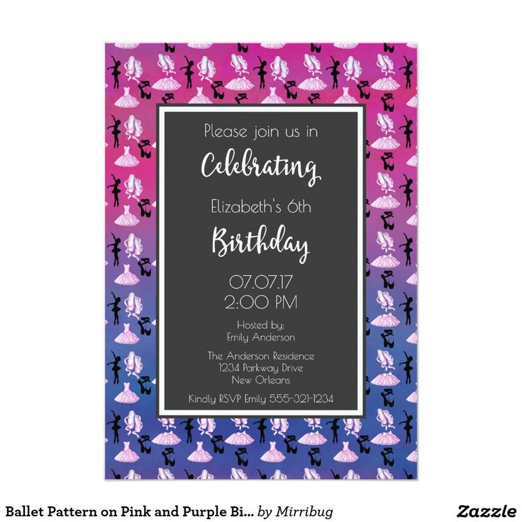 Ballet Pattern on Pink and Purple Birthday Party Card