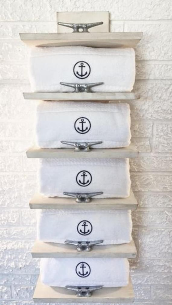 5 Shelf Nautical Towel Rack, Coastal Storage, Beach Decor