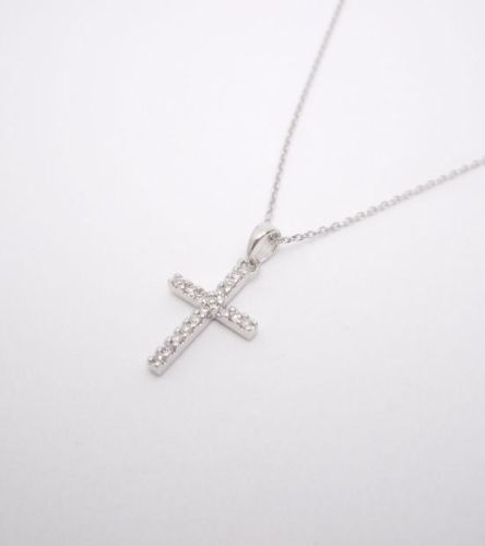 "14k White Gold Small Diamond Cross Pendant Necklace with 16"" or 18"" Chain 