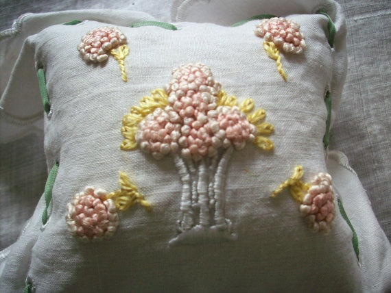 1800s pincushion made of linen filled with emery by TextileArtLace, $55.00