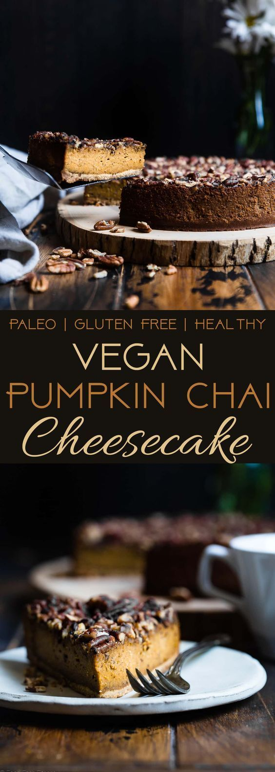 Vegan Pumpkin Chai Cheesecake - This dairy-free, gluten free pumpkin cheesecake is infused with spicy chai tea! It's an easy, healthy and paleo friendly show-stopping fall dessert! | Foodfaithfitness.com | @FoodFaithFit http://healthyquickly.com