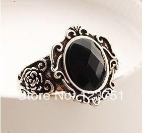 Min Order $10(Mix Order)Free Shipping!Super retro personality carved black stones mirror ring $0.48
