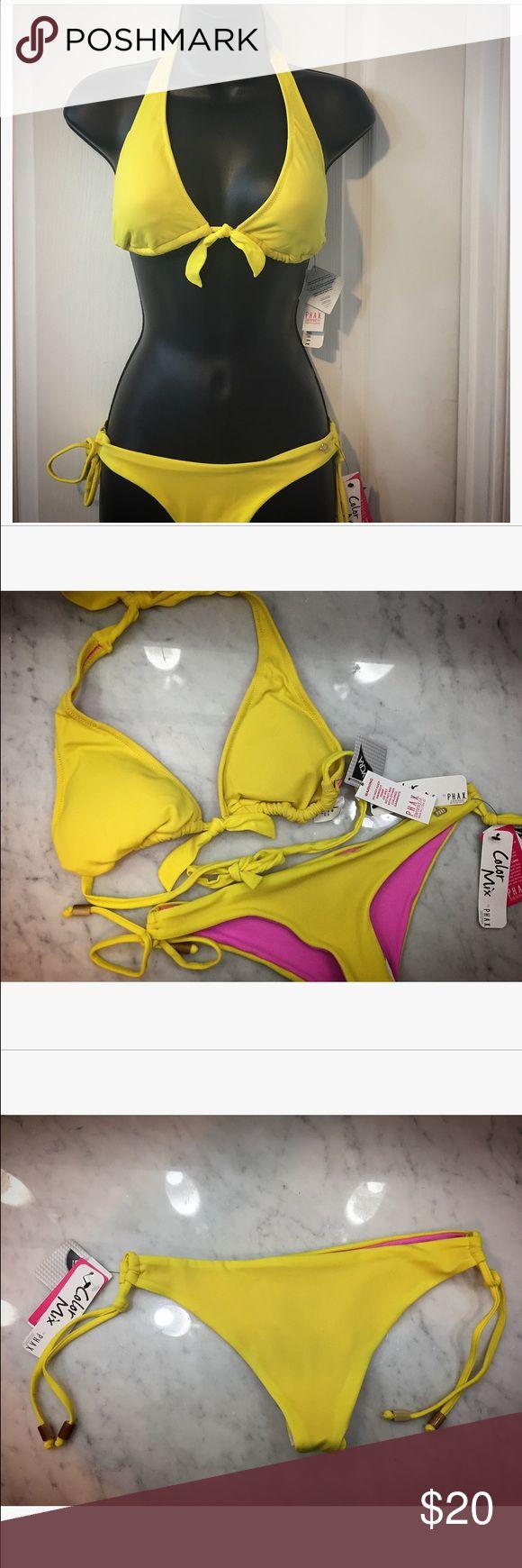 Bikini top and bottom Yellow Phax bikini (Brazilian brand), cheeky, halter string bikini, medium, brand new with tags phax Swim Bikinis