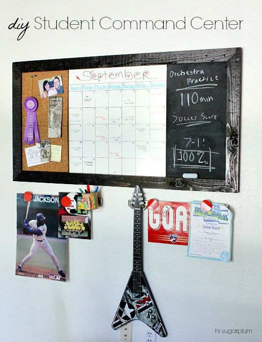 Hi Sugarplum | Oversized Wall Command Center to help students stay organized! Corkboard, Calendar & Chalkboard. Easy DIY inspired by PB Teen.