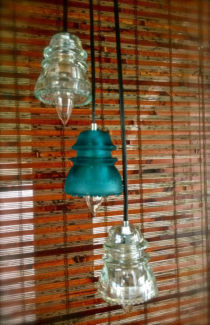 Glass insulator pendant light kit feed - Repurposed Glass Insulator Pendant Lights Blue By Ohgloryvintage Yay I Can Finally Tell My Mom We Have A Purpose For These Things