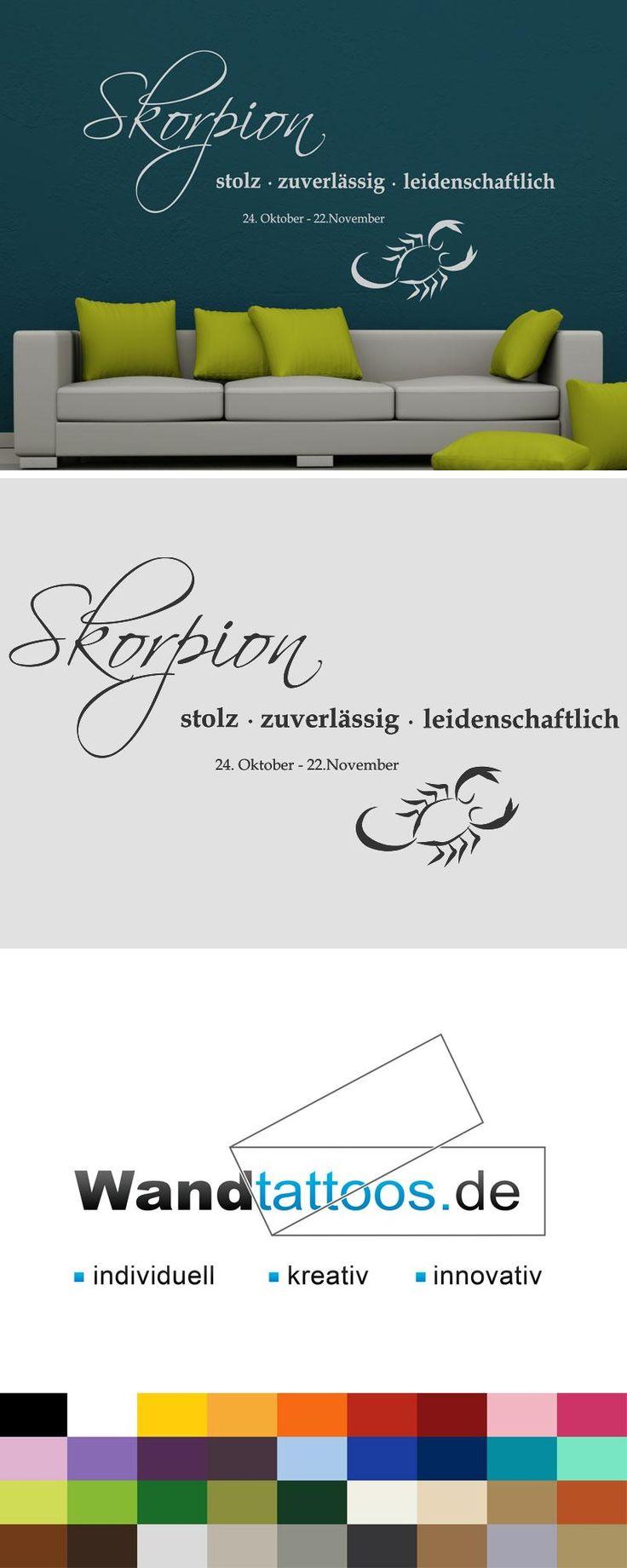 """Wandtattoo Sternzeichen """"Skorpion"""" als Idee zur individuellen Wandgestaltung. Einfach Lieblingsfarbe und Größe auswählen. Weitere kreative Anregungen von Wandtattoos.de hier entdecken!"""
