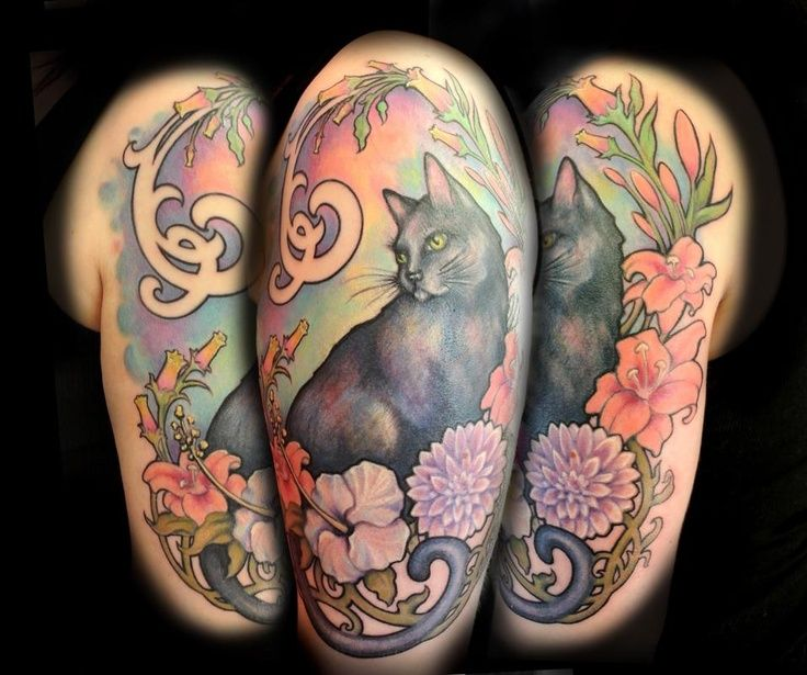 Black Cat Tat? Oh yeah. #tattoo #black+cat #art+nouveau
