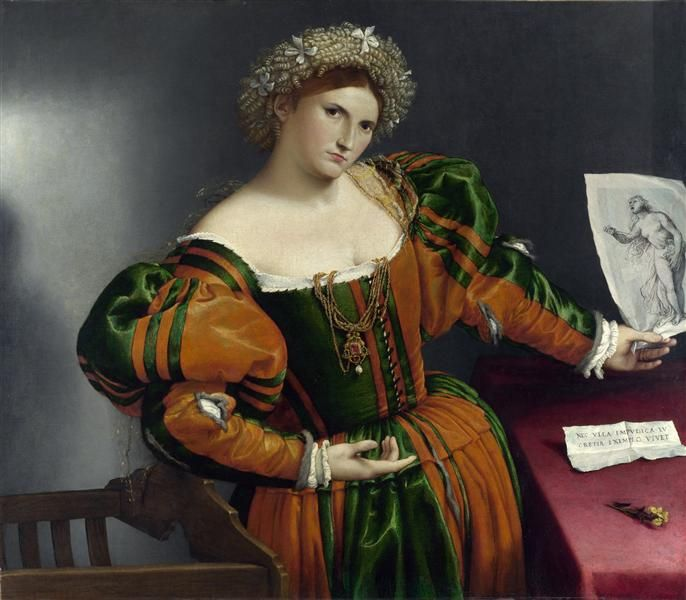 Lorenzo Lotto - A Lady with a Drawing of Lucretia (1531)