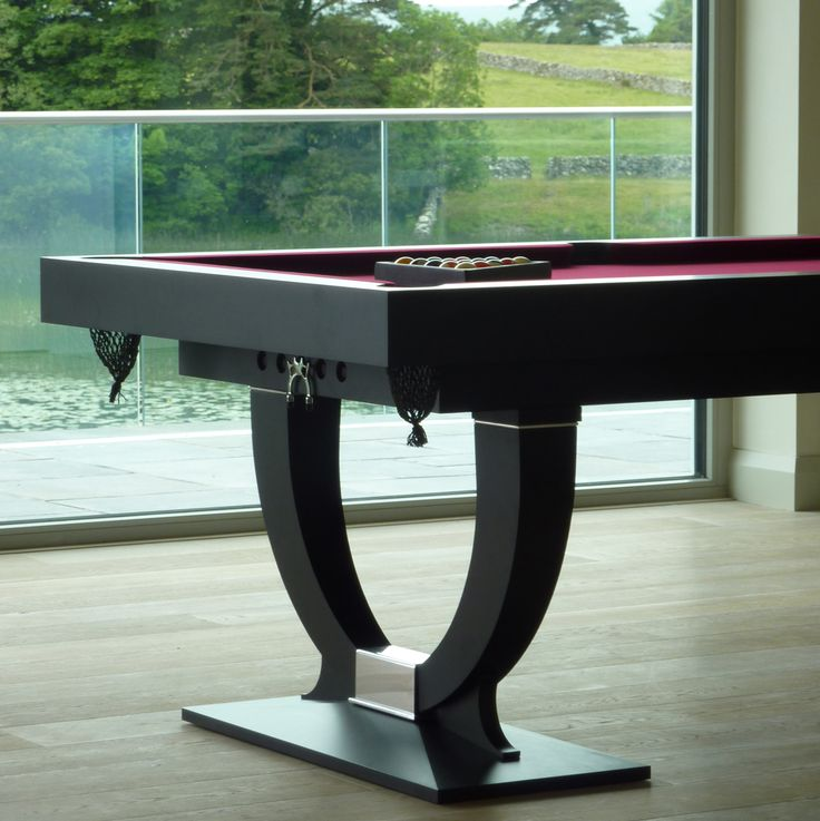 Bespoke 'Continental' 7ft pool table; handmade from solid Ash with Maroon cloth & Charcoal paint finish - you can choose your own personal colours of paint and cloth! - but this combination is stunning. www.billiards.co.uk