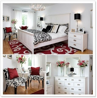 black and red bedroom just using accessories with white furniture - 99 Home Design