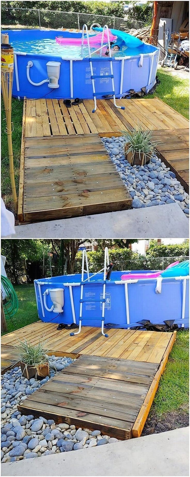 Pallet Ideas Pool Pallets Ideas Pallet Pallets Pool 1000 In 2020 Pallet Pool Above Ground Pool Landscaping Above Ground Pool Decks