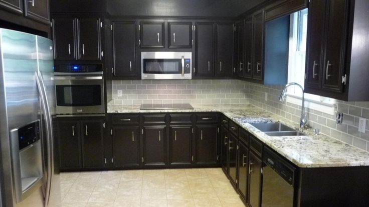 Dark cherry cabinet with white backsplash ideas for for 7 x 9 kitchen cabinets
