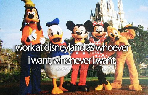 I would wish that I could work at Disneyworld as whoever I want, whenever I want. I'd rather work in Disney world than in Disneyland