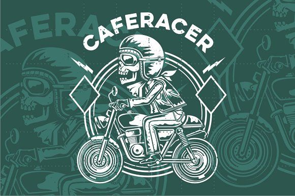 caferacer skull by arace on @creativemarket