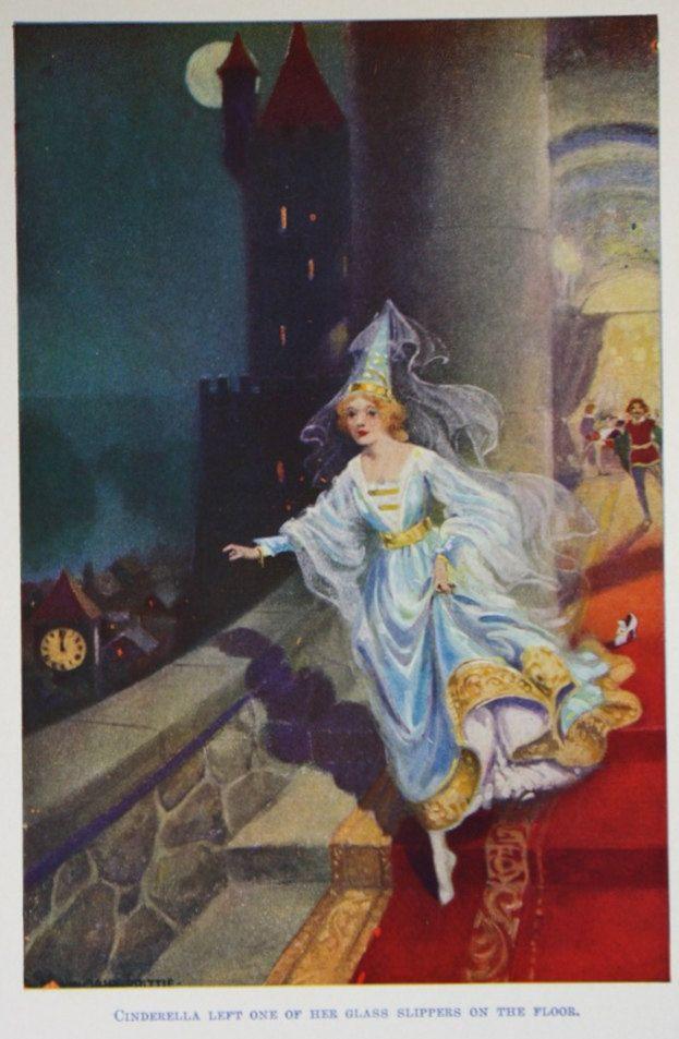 Vintage Cinderella Princess Illustration Fairy Tale Book Plate Print- 1924 Grimms Fairy Tale Illustrations.