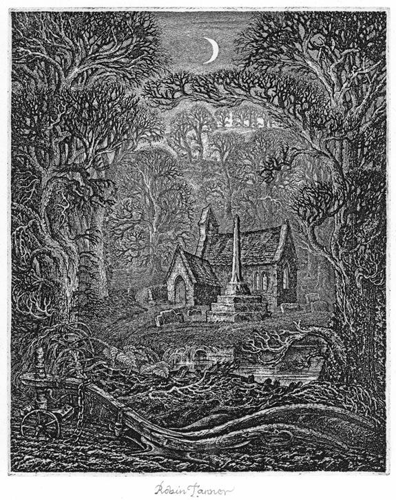 """Robin Tanner.December: Elegy for the English Elm The church derives from that at Ingelsham in north Wiltshire. The wooden plough in the foreground is one preserved by Lackham College of Agriculture.  On the finished drawing for his first Elegy for the English Elm ('The Open Road'), two years earlier, Tanner wrote a line from Thomas Traherne  """"Everything was at rest, free and immortal""""."""