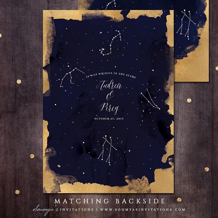 Constellation Wedding Invitation, Gold and Navy Wedding Invitation, Starry Night Wedding Invitation, Star Wedding Invite, Under the Stars Wedding Invitation Set «  Wedding Invitations   Soumya's Invitations