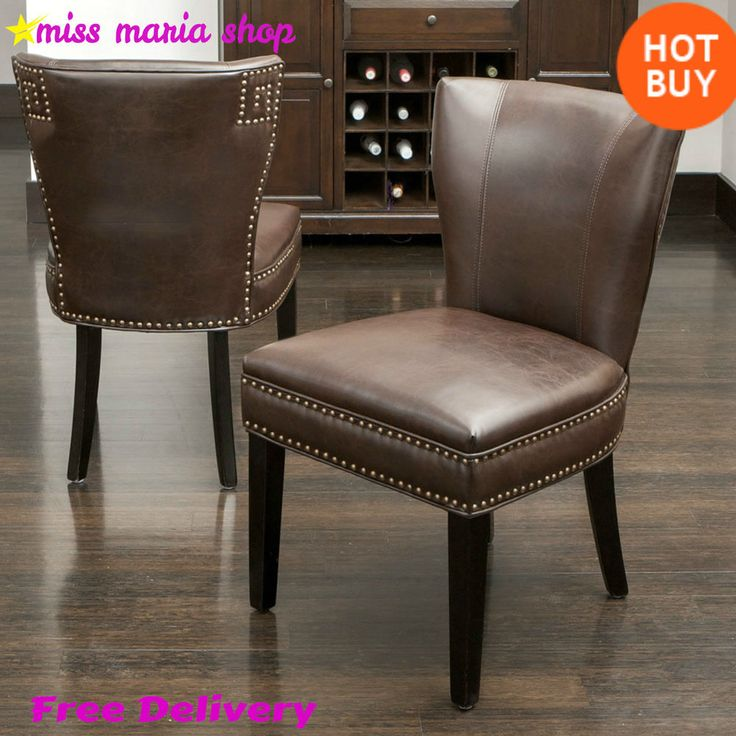 2 Leather Dining Chairs Living Room Furniture Vintage Upholstered Brown Sturdy