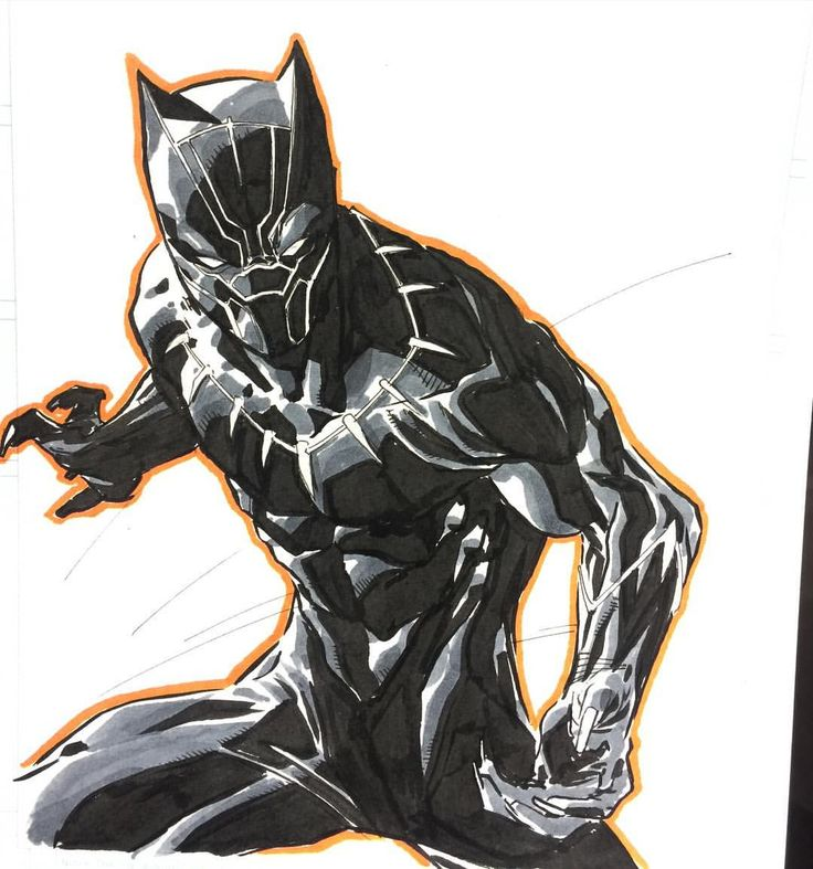 Black Panther by Carlo Barberi #blackpanther #calgaryexpo #markers #marvel #commission #ink