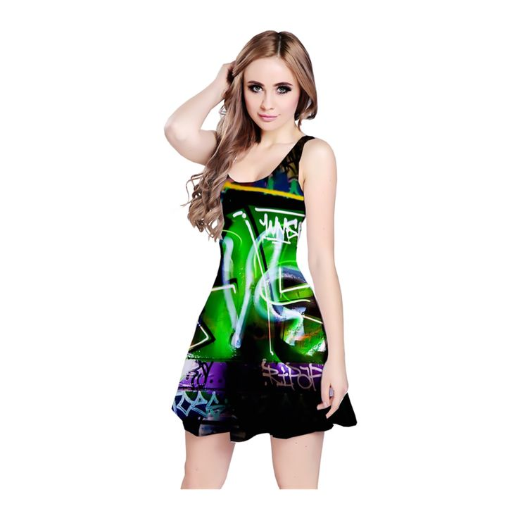 """Design inspired by the artwork """"Untitled #3"""", from the DARK STREET ART  collection.  A reversible sleeveless dress which can be worn in 2 ways - wear it with a  low-cut round neckline, or flip it over for a high-cut racer back design.  The dress is made from a light and flowy material. It is fitted at the top  and has a slight flare from the wasit, to create a flattering shape.  Perfect to be worn on its own, with leggings or layered under a cardigan.      * Made from 90% Polyester, 10%…"""