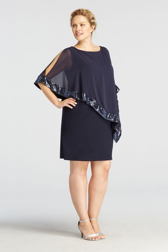 Plus Size Caplet Short Jersey Mother of Bride/Groom Dress ...