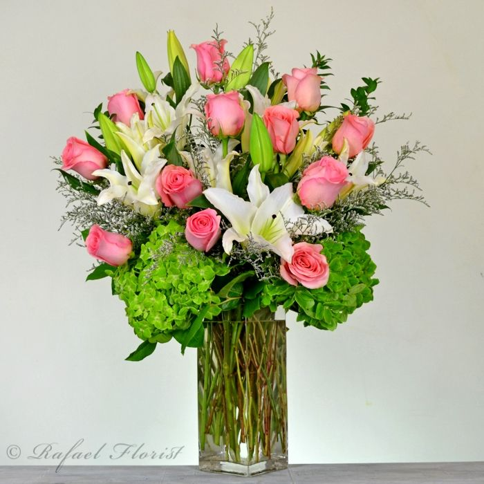 5a717522f2b3 Rose and lilies bouquet includes green hydrangeas fragrant white lilies