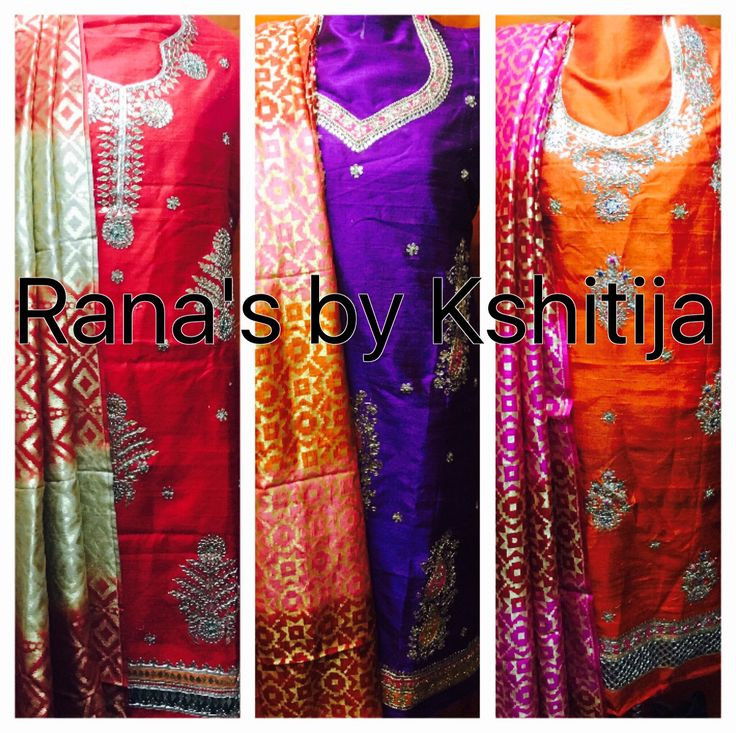 Pure silk and jacquard silk Salwar suits in fine new designs for the season. Look Royal this winter season.