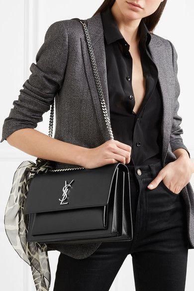 50f930273278c Saint Laurent - Sunset Large Leather Shoulder Bag - Black