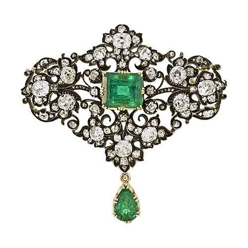 breathtaking brooch.: Diamonds Brooches, Emeralds Jewelry, Antiques Jewelry, Victorian Emeralds, Antiques Emeralds, Victorian Jewelry, Antiques Victorian, Amazing Jewelry, Vintage Jewelry