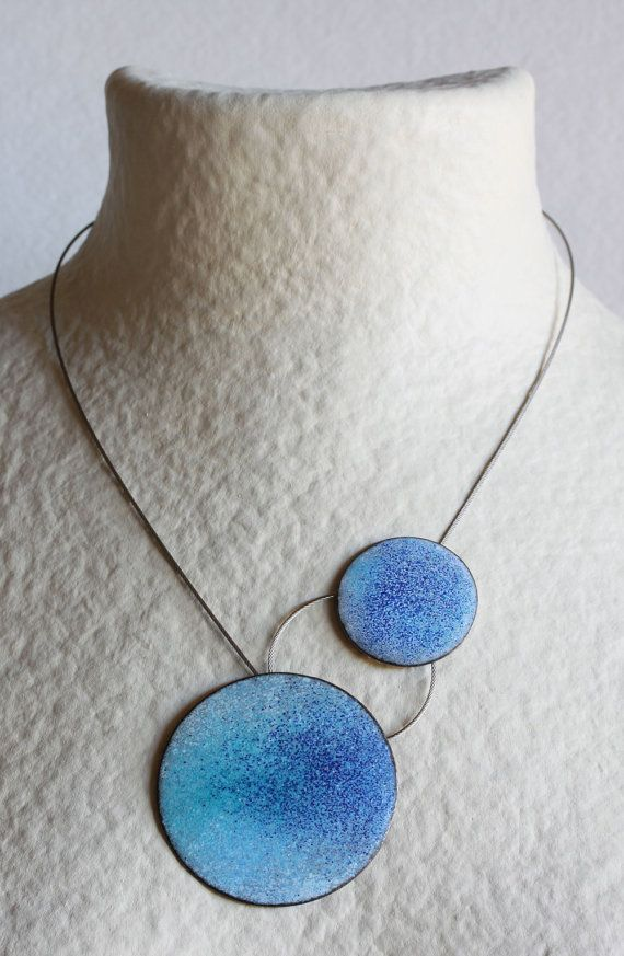Two Points Necklace Blue Enameled copper Steel by mardecoLorrosa