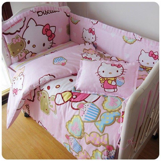 Продвижение! 7 шт. привет китти ребенка простыня постельных принадлежностей 100% хлопок детские детские постельные принадлежности ( бамперы + матрас + подушка + одеяло )