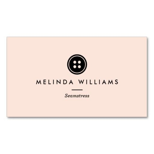 Fully customizable business card template for seamstress, sewing, fashion designers and tailors. Features a modern button logo above your name or business name. Chic and elegantly simple.