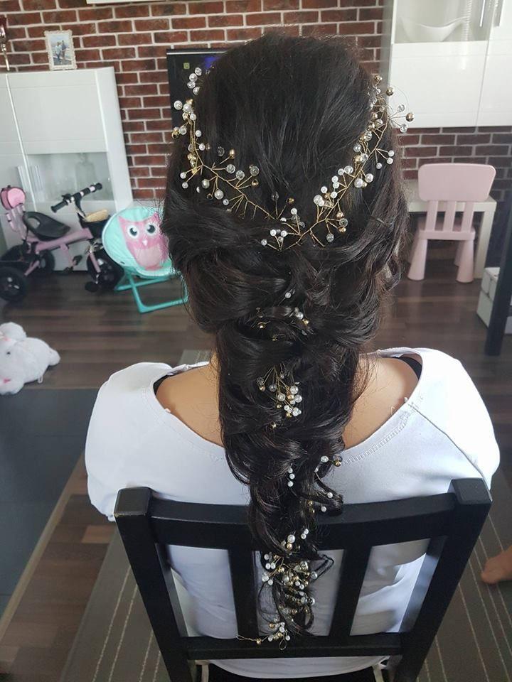 Nasza Gałązka - Ozdoba do włosów 140 cm a Fryzurka w Wykonaniu Pani Anetki  Fryzury Upięcia Ślubne Wieczorowe ANET