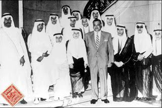 A rare picture of the sons of King Saud with the former Egyptian president Gamal Abdel Nasser in Cairo in 1957 صورة نادرة لأبناء الملك سعود مع الرئيس المصري