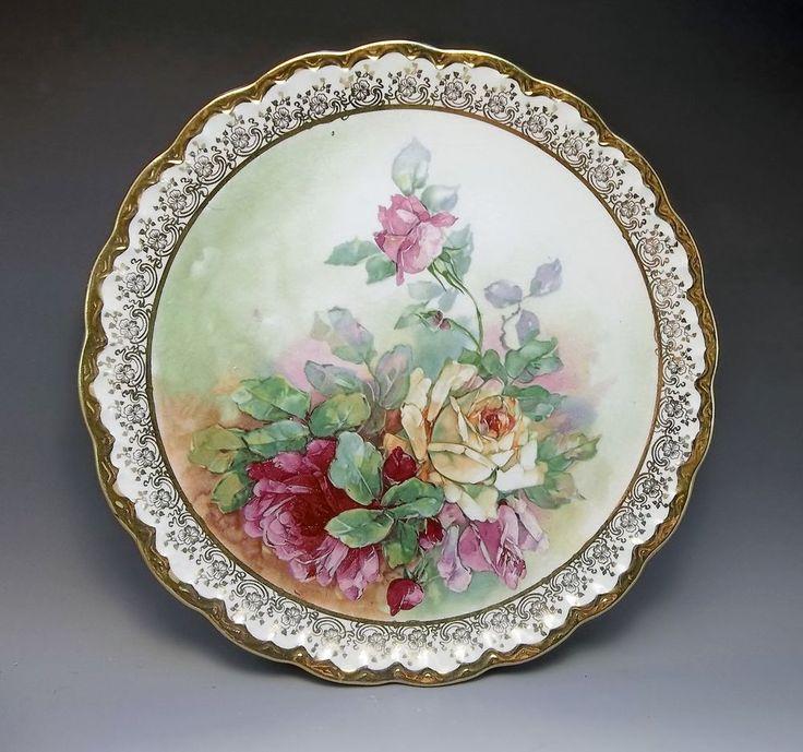 Antique Carnation McNicol Pink Roses Large Charger Plate Porcelain Gold  #Victorian #CarnationMcNicol