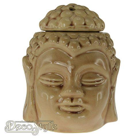 Stijlvolle aromabrander in de vorm van een Boeddha. Te gebruiken om de waxmelts te laten smelten. Vervaardigd door SLC Kleur: Beige Materiaal: Keramiek Afmetingen: Hoogte: 13 cm Breedte: 9.5 cm Diepte: 11 cm