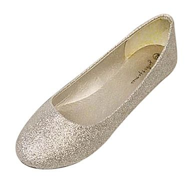 Sparkling Glitter/Faux Leather Flat Heel Ballerina Flats Shoes(More Colors)  - GBP £ 6.60