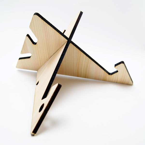 wooden iPad Stand laser cut in cypress thinning of Japan designed by Yuko  Noguchi