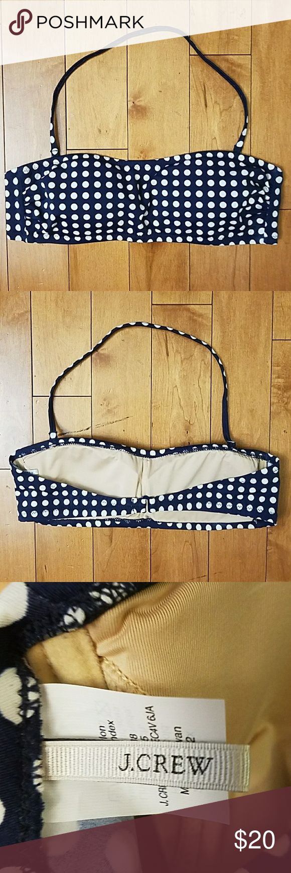 J. Crew Polka Dot Bandeau Bikini Top J. Crew Navy and White Polka Dor Bandeau Bikini Top.   Size medium.   Has a removable neck strap.  Super cute with any color bottom!!  Excellent condition J. Crew Swim Bikinis