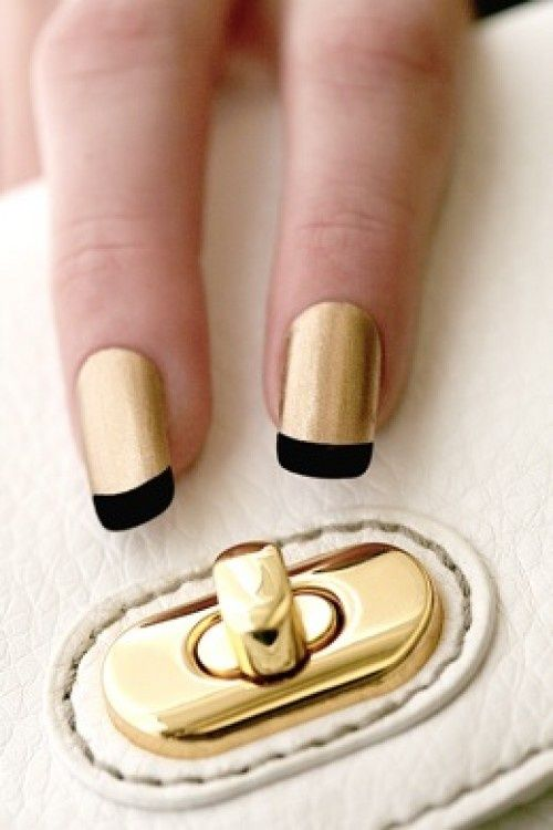 Gold nails with black tip.  Elegant. Would look great with a little black dress and gold bling.