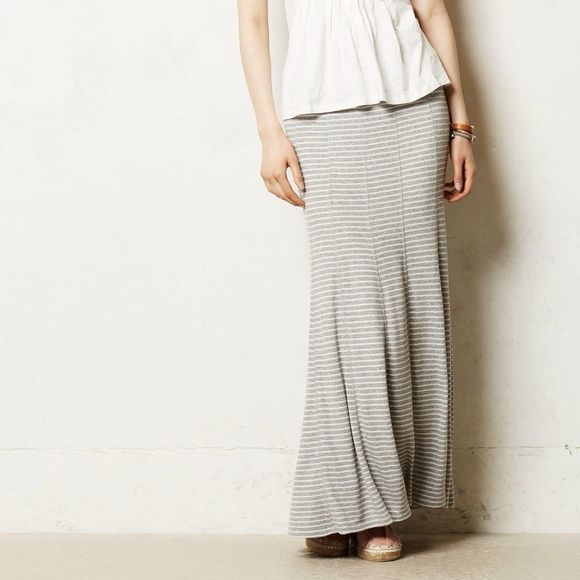 "Anthropologie TYBEE MAXI SKIRT Grey Stripe XS NEW New without Tags - Sold Out  Anthropologie TYBEE MAXI SKIRT Retail $98 Color/Size: Grey Striped/X-Small Rooted in high-fashion design and committed to craftsmanship, Bordeaux's fine jersey creations are basics steeped in luxury. Case in point: this wonderfully soft maxi, complete with ribbed detailing and a trumpet-flare hem. By Bordeaux Pull-on styling Rayon, spandex Hand wash Regular: 40""L Imported Style No. 4120209025469 Anthropologie…"