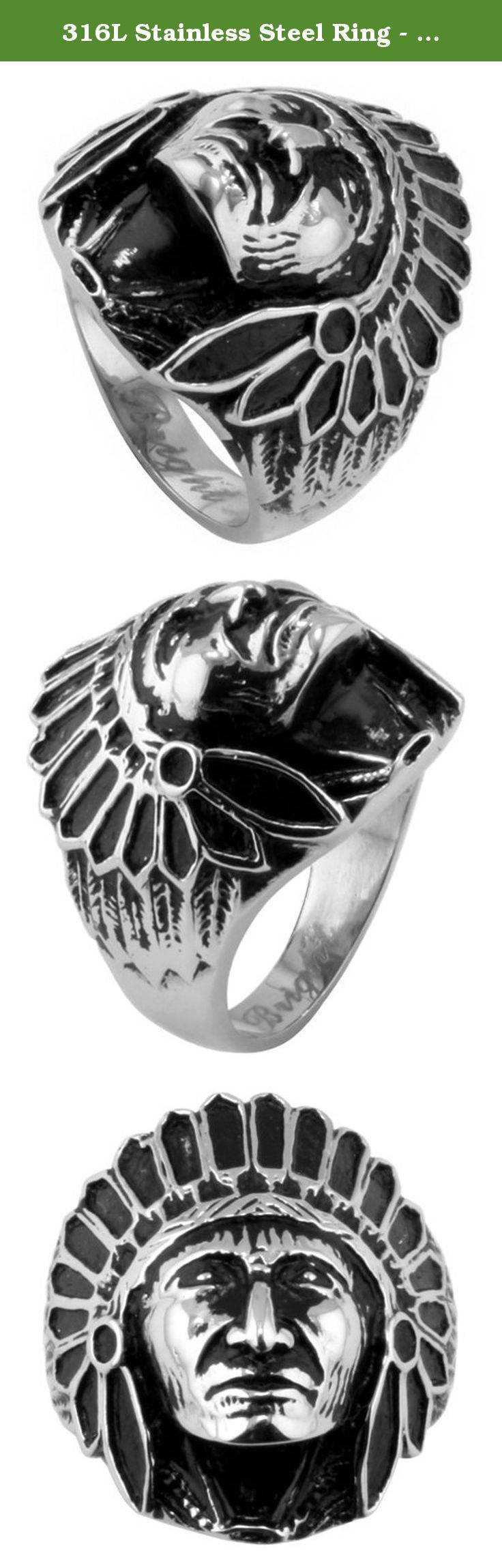 316L Stainless Steel Ring - American Indian Chief Biker Ring. Jewelry Volt's competitive wholesale pricing, along with our high standards for quality and consistency is what sets us apart from other sellers. 316L is the highest grade of stainless steel used in the jewelry market. As a low-carbon austenitic metal, it's highly resistant to corrosion. The applications for 316L grade stainless steel range from medical tools to maritime welding. Our 316L stamped stainless steel jewelry will…