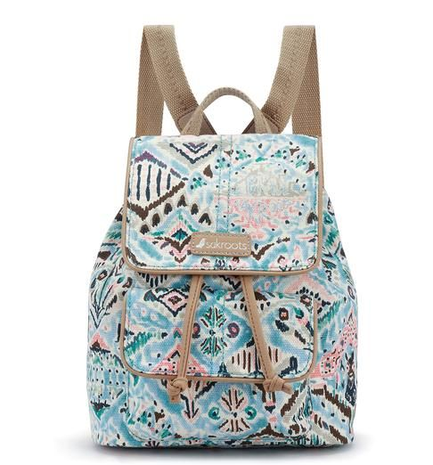Welcome spring with the new Metro Mini Flap Backpack in Turq Brave Beauti, a coastal toned print with ikat design. This cute canvas backpack sits comfortably on your shoulders and secures your things with a drawstring closure.