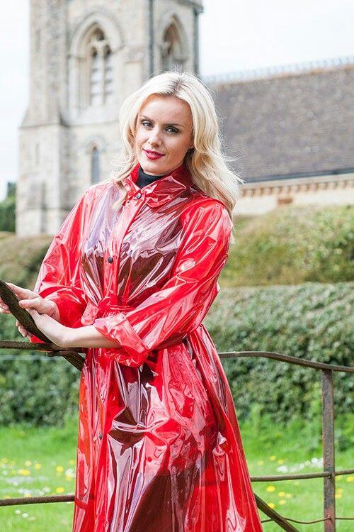 red plastic raincoat