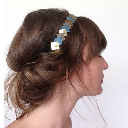 "Head-band ""Graphic"" en Cuir --> Or-Taupe-Bleu  : Accessoires coiffure par lucky-rosetta"